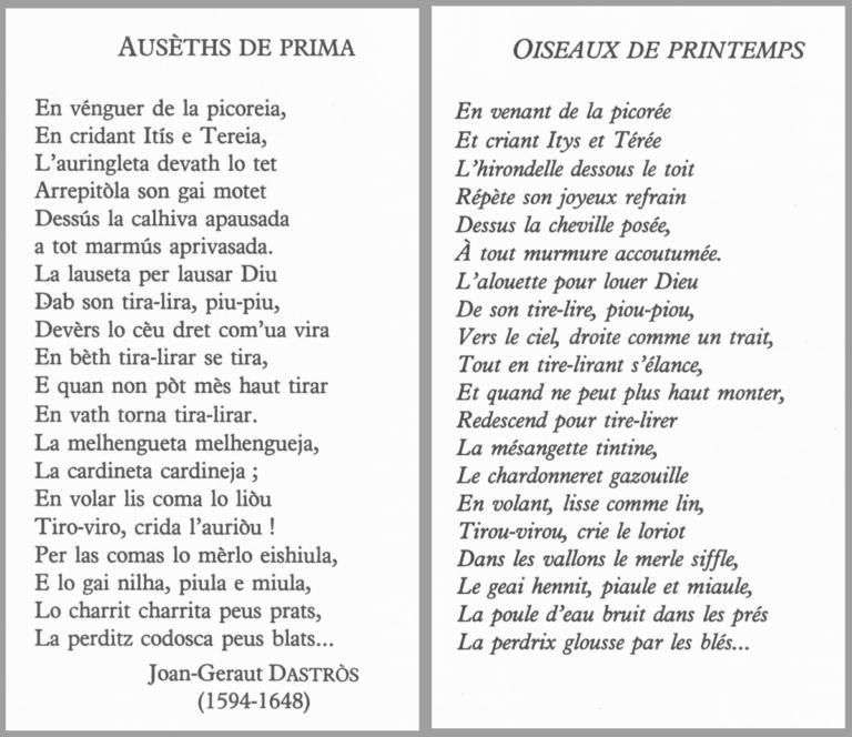 Oiseaux en gascon - Auseths de Prima - poésie de Joan-Geraut DASTROS (1594-1648) avec traduction en français