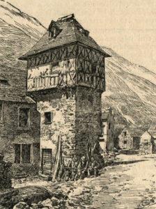 Maisons à pans de bois - Le Castel de Fisse à Tramezaïgues en haute vallée d'Aure - dessin du livre de François Marsan