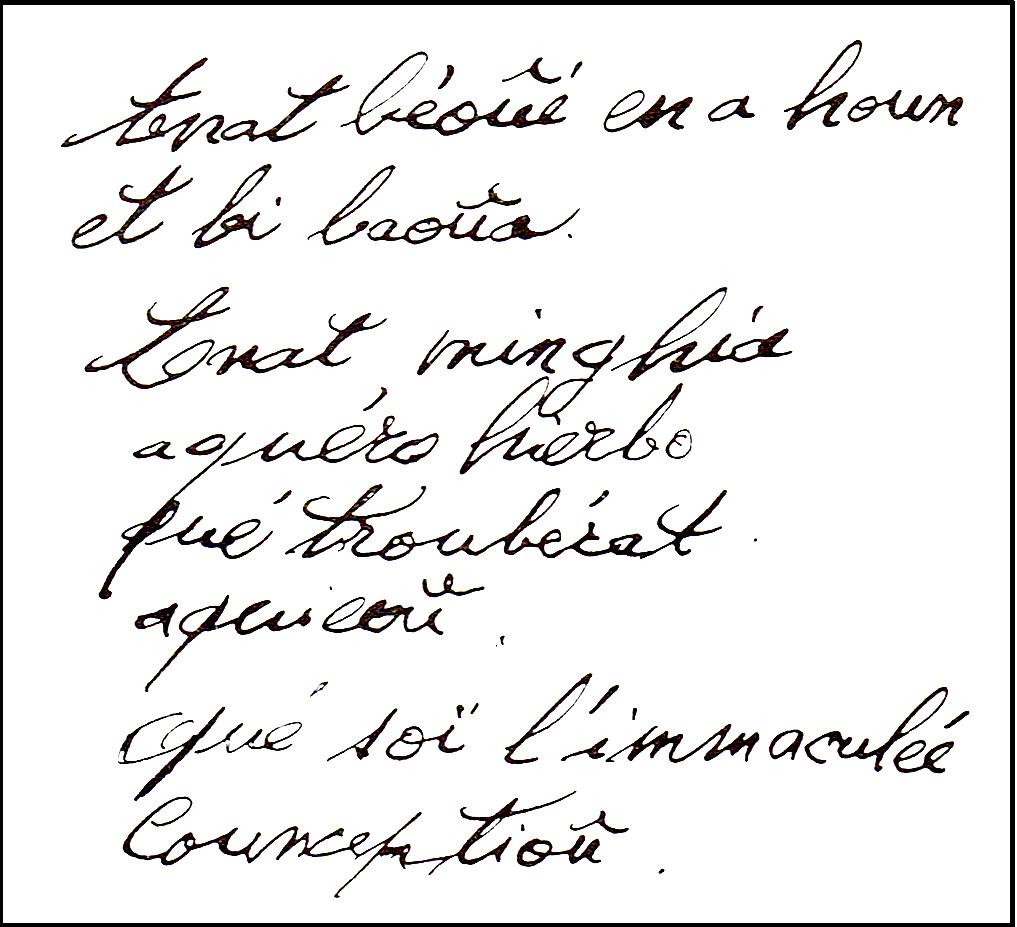 Herbe de la Grotte - Manuscrit de Bernadette