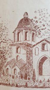 Clocher de l'abbaye de l'Escaladieu du XVIIe siècle, dessins d'Ivan Douglas Frossard