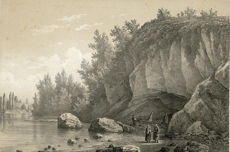 Herbe de Lourdes - Lithographie de la grotte de Massabielle en 1860 par Charles Mercereau