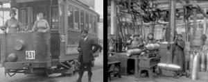 Les femmes conduisent les tramways et produisent des obus
