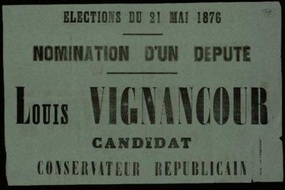 Politique - élection de Louis Vignancour en 1876