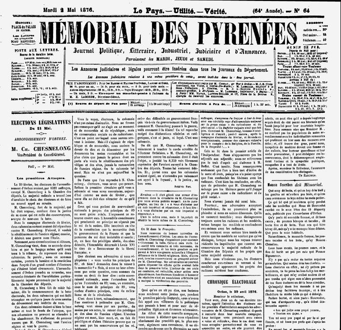Hourquillat chroniqueur politique dans le Mémorial des Pyrénées (mai 1876)