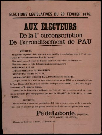 Profession de foi politique de Pé de Laborde aux élections de 1876