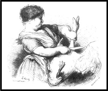 Dessin de G. Doré tiré de Voyage aux Pyrénées de H. Taine (1860) -Manger l'oie