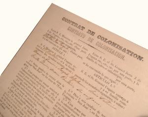 Contrat de colonisation entre le Gal de Urquiza et la famille Bastian (en français et espagnol) - Alexis Peyret directeur de la colonia San José