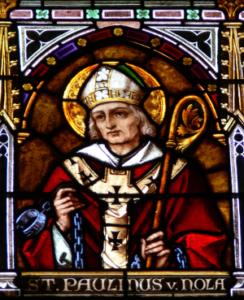 Paulin de Nole, élève et ami de Ausone, d'après un vitrail de la cathédrale de Linz (Autriche).