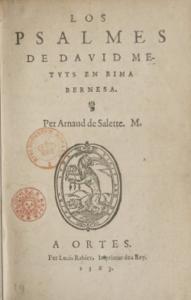 Les Psaumes de David d'Arnaud de la Salette écrits en béarnais