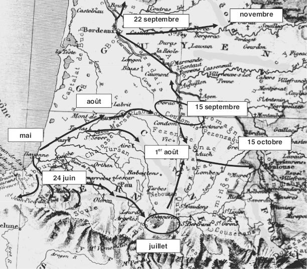 Progression de la peste bovine dans le Sud-ouest en 1774.