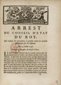 Arrêt du Conseil d'État du roi qui est indiqué les pros les précautions à prendre contre la maladie épidémique sur les bestiaux du 19 juillet 1746