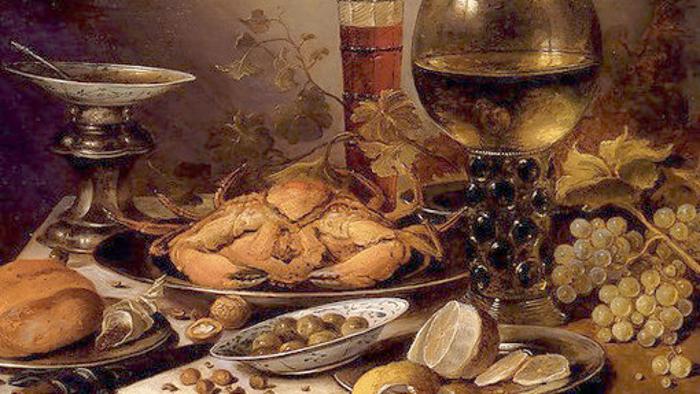 Le cuiinier de la cour de Naples : Natura morta con grancio su piatto d'argento, uva, olive et limone (Renaissance italienne)