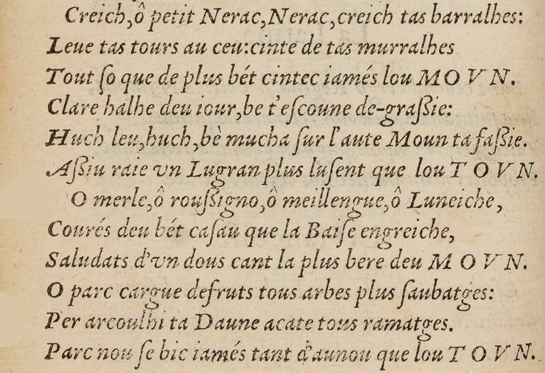 Poème adressé par G. de Saluste Sieur Du Bartas pour l'accueil de la Reine de Nauarre faisant son entrée à Nerac - 1579 (extrait)