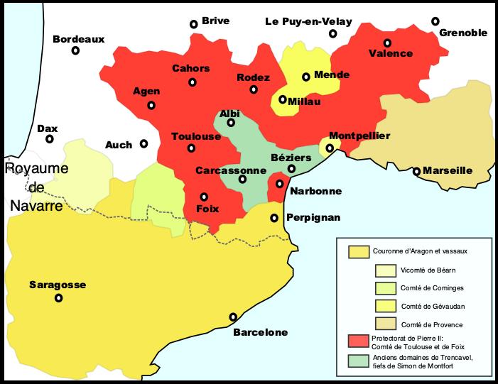 Le royaume d'Aragon en 1213et le comté de Toulouse et de Foix avant la bataille de Muret entre le Roi d'Aragon et Simon de Montfort