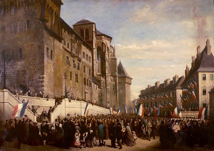 Provinces - les Chambériens brandissant des drapeaux français au pied du château des ducs, lors du rattachement de la Savoie à la France en 1860.