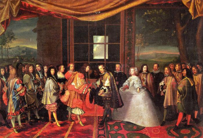 Les provinces de France - Signature du traité des Pyrénées sur l'Île des Faisans sur la Bidassoa