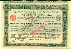 Bon de la Compagnie Générale Aéropostale de Latécoère (1928)