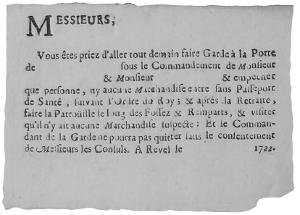 Epidémie de peste en 1721-1722- Billet de convocation pour la garde des portes et la patrouille dans la ville de Revel