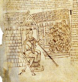 Allégorie de la Grammaire et son amphithéâtre d'élèves dans un manuscrit du Xe siècle