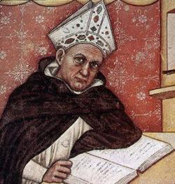 Albertus Magnus (ca 1200 - 1280), fresque de Tommaso da Modena (1332).