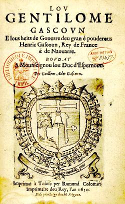 Le Gentilhomme gascon de Guillaume Ader dédié au duc d'Épernon (sur la couverture le blason du duc)