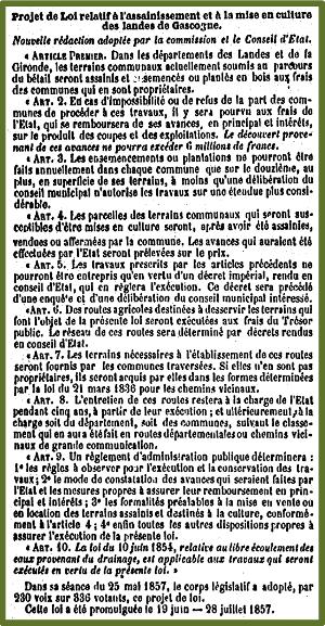 Pinhadar - loi de 1857