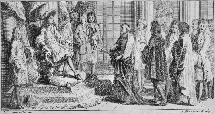 Les membres de l'Académie Française (dont certains pourfendent le gascon) venant offrir le Dictionnaire au Roi Louis XIV en 1694 (1 sur 1)