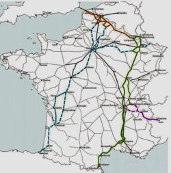 Autoroutes ferroviaires existantes ou projetées