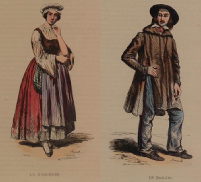 """Gascon et gasconne vus par les """"Les Français peints par eux-mêmes - Encyclopédie morale du 19è s.)(1841)"""
