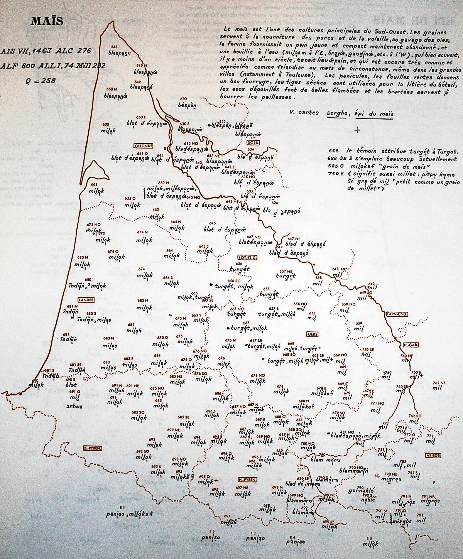 Atlas Linguistique et ethnographique de la Gascogne (Séguy) - le maïs et ses mutilples noms en gascon