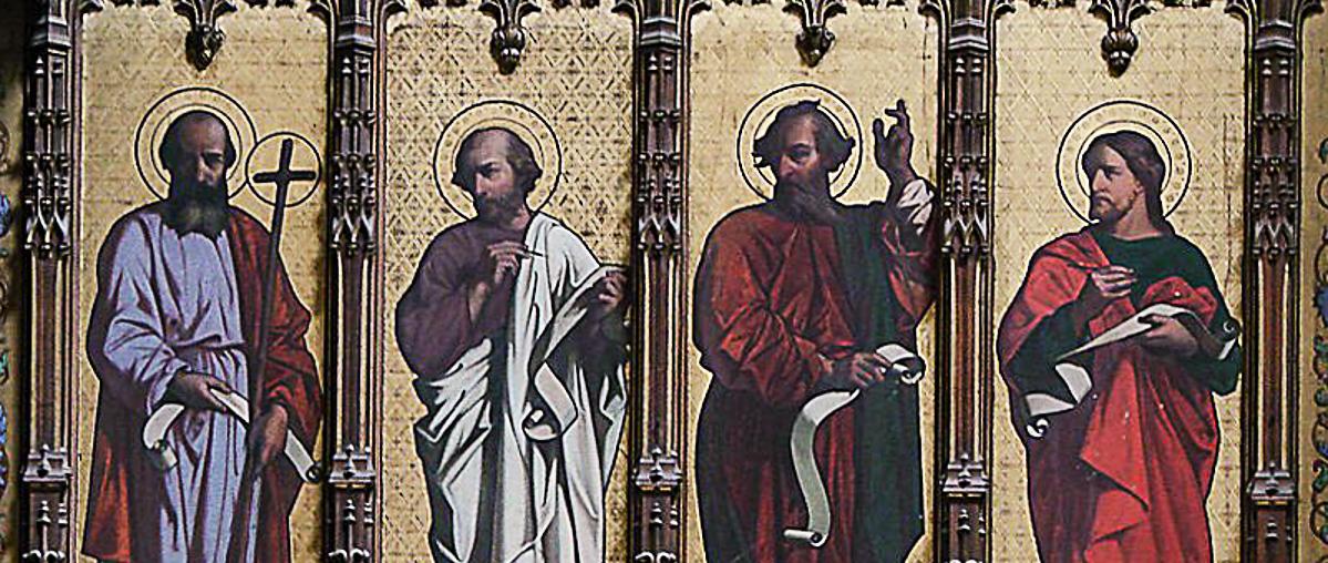 Choeur de la cathédrale Sainte-Marie d'Auch. - inspirée par des artistes italiens, la paroi extérieure de la salle capitulaire, représentant des prophètes et deux des évangélistes, Luc et Jean
