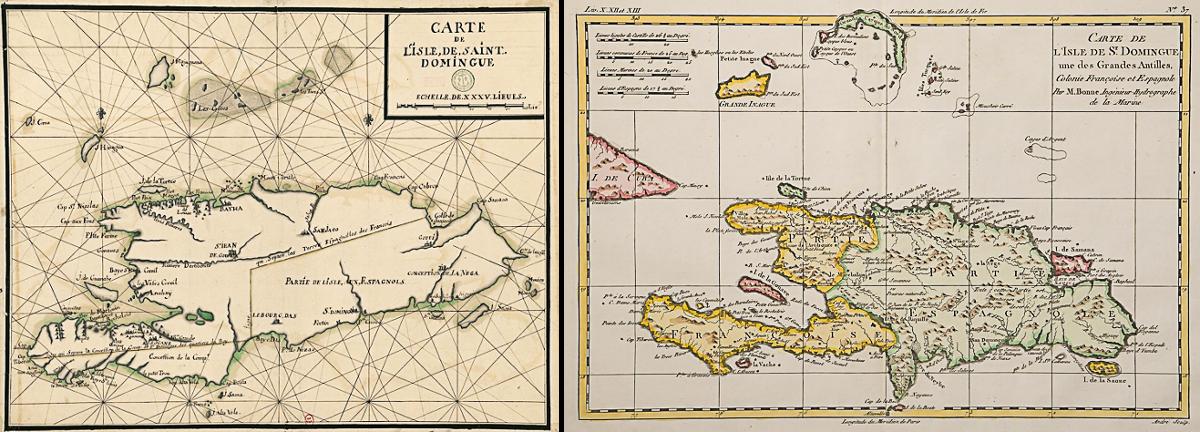 Deux cartes non datées de l'Île de Santo Domingo donnant la répartition de l'île entre la colonie française et la colonie espagnole