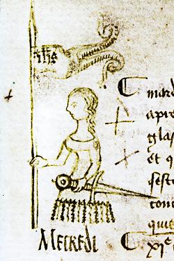 Représentation de Jeanne d'Arc, en marge d'un registre par Clément de Fauquembergue le 10 mai 1429