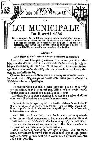 Loi Municipale du 5 avril 1884 (extrait sur les Commissions Syndicales)
