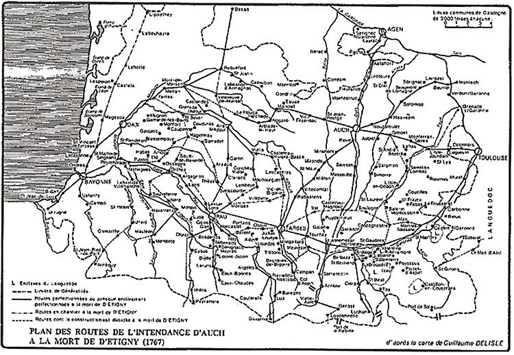 Plan des routes de l'Intendance d'Auch à la mort de d'Etigny (1767)