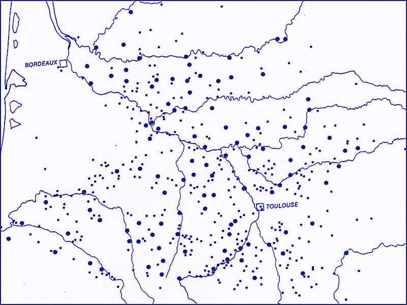 Carte des bastides du Sud-Ouest