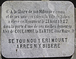 plaque présentant la légende du sanglier de Salies de Béarn
