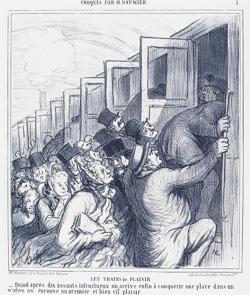 Les trains du plaisir, caricature de Daumier 1864