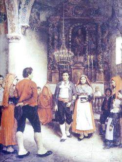 Noce à Laruns - Musée des Beaux-Arts de Pau - Le droit d'arromèga lors des mariages