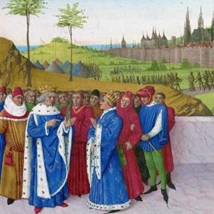 Jean Fouquet (ca 1455) - Entretien entre saint Gontran et Childebert II. Devant les dignitaires de sa cour, Gontran, sans héritier, s'adresse à son neveu Childebert qu'il vient de nommer son successeur. Lors du siège de Saint-Bertrand-de-Comminges par le roi Gontran, Mummol (en arrière-plan) trahit et livre le prince franc Gondevald.